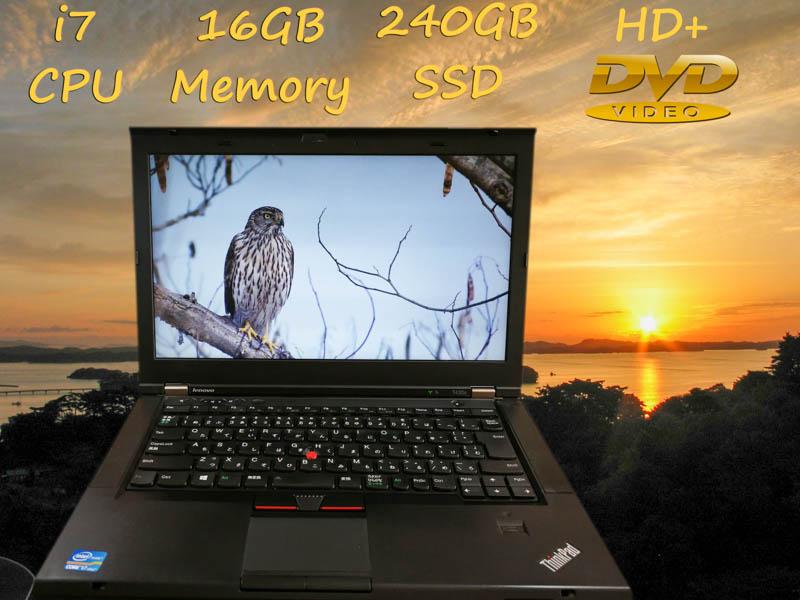 Lenovo ThinkPad T430s i7 16GB  SSD(新品240GB)  14.0HD+(1600×900)  DVD(SuperMulti) keyboardLight  BatteryTime(3h28m)    Bluetoothマウス  Win10