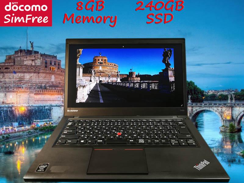 Lenovo ThinkPad T440s i5 8GB (ドコモSimフリー)  SSD(新品240GB) 14.0HD+(1600×900)  TwinBatteryTime(8h32m)Win10 プリペイドSIM付