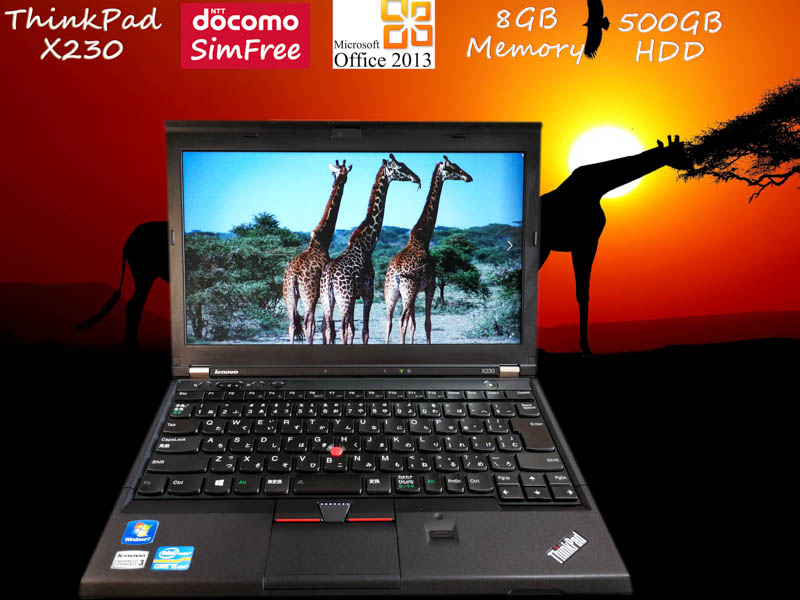 Lenovo ThinkPad X230 i5 8GB  HDD(500GB)  12.5(1366×768)  BatteryTime(6h15m) Win10  Office 2013 ドコモ Simフリー