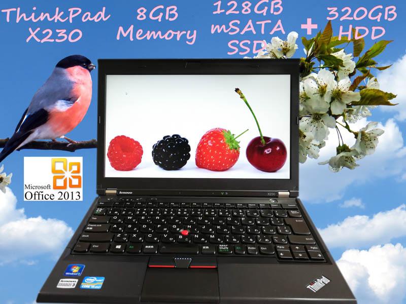 Lenovo ThinkPad X230 i5 8GB  SSD(mSATA  128GB)+HDD(320GB) 12.5(1366×768)  BatteryTime(7h55m) KeyboardLight Win10 Office 2013