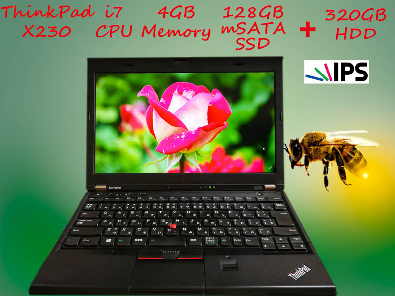 Lenovo ThinkPad X230 i7 4GB SSD(mSATA 128GB)+HDD(320GB) 新品IPS 12.5 (1366×768)  BatteryTime(7h2m)  KeyboardLight  Win10