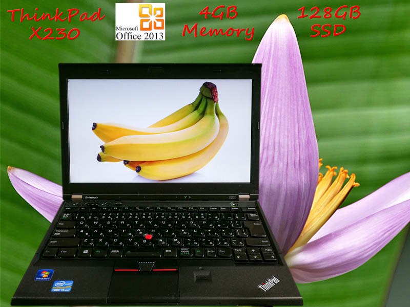 Lenovo ThinkPad X230 i5 4GB SSD(サムスン128GB) HD 12.5 (1366×768)  BatteryTime(2h47m)  Win10 Office 2013