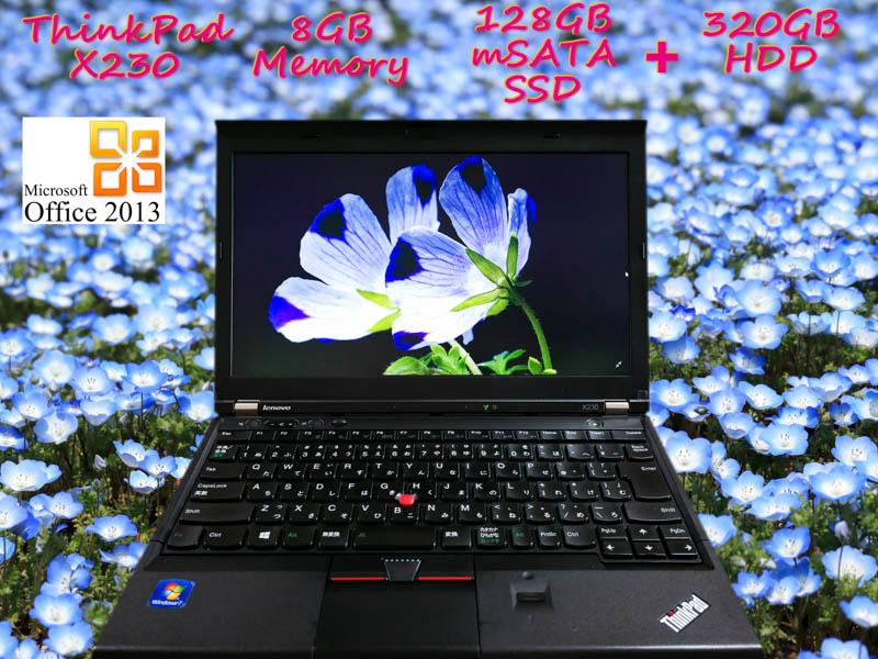 Lenovo ThinkPad X230 i5 8GB SSD(mSATA 128GB)+HDD(320GB) 画面(HD 12.5  1366×768)  BatteryTime(5h14m)  KeyboardLight  Win10 Office 2013
