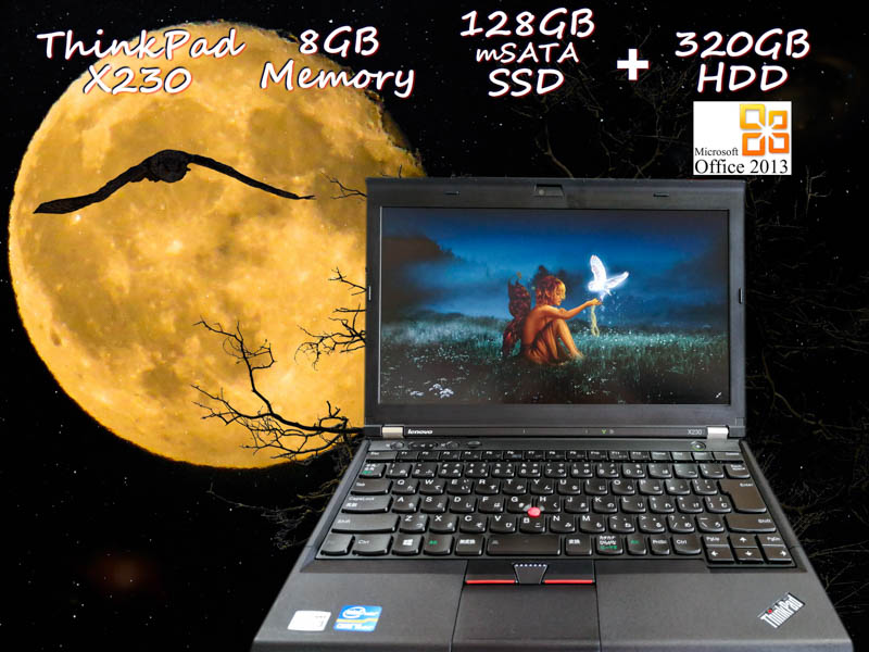 Lenovo ThinkPad X230 i5 8GB SSD(mSATA 128GB)+HDD(320GB) 画面(HD 12.5  1366×768) バッテリ(持続時間6h7m)  カメラ Win10 Office 2013