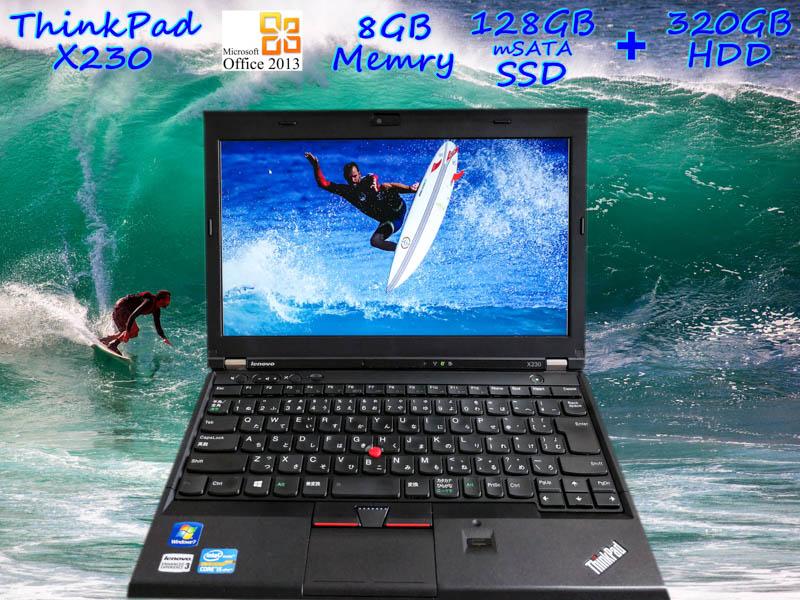 Lenovo ThinkPad X230 i5 8GB SSD(mSATA 128GB)+HDD(320GB) 画面(HD 12.5  1366×768) バッテリ(持続時間5h5m)  カメラ Bluetooth 指紋 Win10 Office 2013