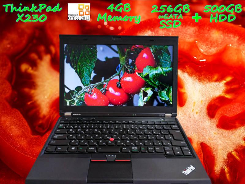 Lenovo ThinkPad X230 i5 4GB SSD(新品mSATA 256GB)+HDD(500GB) 画面(HD 12.5  1366×768) バッテリ(4h30m) キーボード(新品)カメラ Bluetooth  Win10 Office 2013