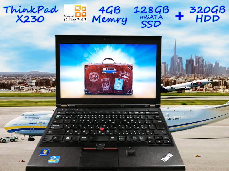 Lenovo ThinkPad X230 i5 4GB SSD(mSATA 128GB)+HDD(320GB) 画面(HD 12.5  1366×768) バッテリ(持続時間3h27m)  カメラ Bluetooth 指紋 Win10 Office 2013