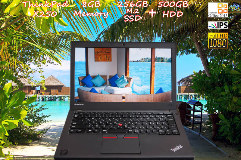 Lenovo ThinkPad X250 i5 8GB SSD(新品 m.2 256GB)+HDD(500GB) 画面(新品 fHD IPS 12.5 1920×1080)バッテリ(2基搭載 6h12m) 天板とキーボードは新品 Bluetooth カメラ Win10 Office 2013