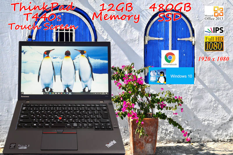 Lenovo ThinkPad T440s i5 12GB  タッチスクリーン(fHD IPS 14.0)  SSD(Win10 480GB)+SSD(Chromebook 64GB)  光キーボード カメラ Bluetooth 指紋  Office2013 Win10  CloudReady
