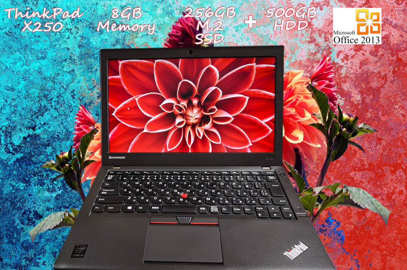 Lenovo ThinkPad X250 i5 8GB  SSD(新品M.2 256GB)+HDD(500GB) 画面(12.5 1366×768) バッテリ(2基搭載  6h58m) カメラ Bluetooth 指紋  Win10 Office 2013