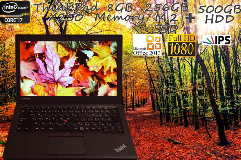 Lenovo ThinkPad X250 i7 8GB SSD(新品M.2 256GB)+HDD(500GB)  画面(新品 fHD IPS 12.5 1920×1080)バッテリ(2基搭載 6h1m) 天板とキーボードは新品 Bluetooth カメラ  Win10 Office 2013