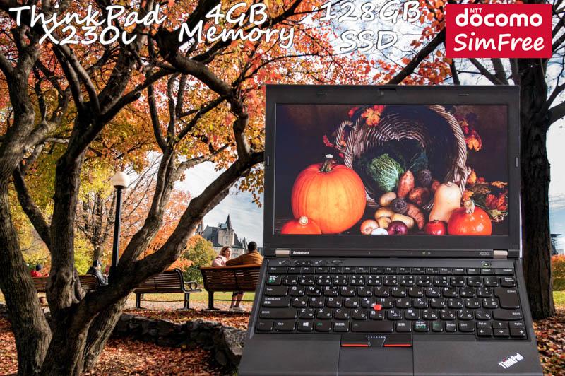 Lenovo ThinkPad X230i i3 4GB SSD(128GB) 画面(HD 12.5 1366×768) バッテリ(8h53m) カメラ ドコモSimFree  Win10