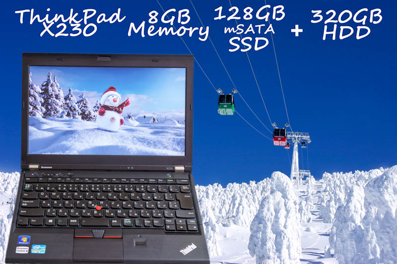 Lenovo ThinkPad X230 i5 8GB SSD(新品mSATA 128GB)+HDD(320GB) 画面(HD 1366×768  12.5) バッテリ(6h16m) 指紋 Win10