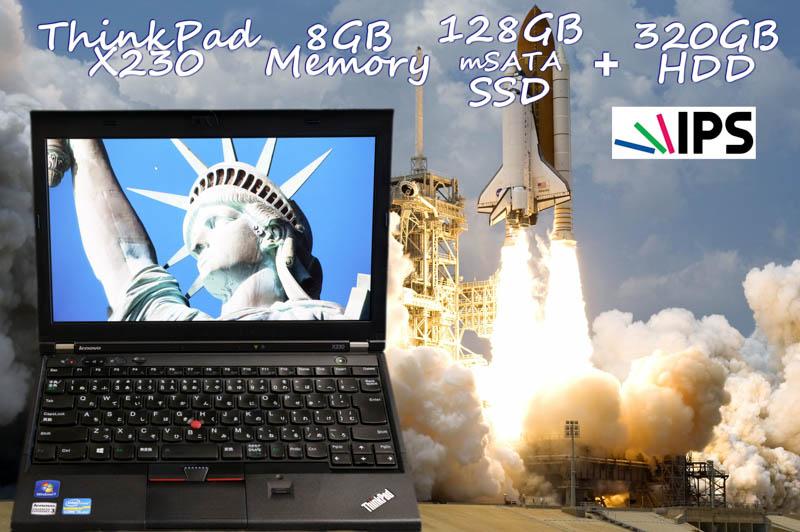 Lenovo ThinkPad X230 i5 8GB SSD(mSATA 128GB)+HDD(320GB) 画面(新品 IPS 12.5) バッテリ(4h54m) カメラ Bluetooth 指紋 Win10