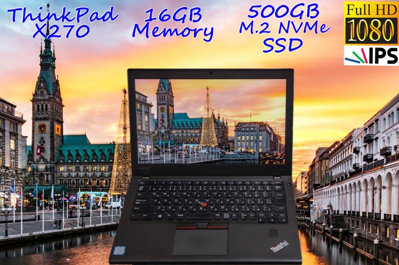 Lenovo ThinkPad X270 i5(7200U) 16GB SSD(新品M.2 NVMe 500GB) 画面(新品 fHD IPS 12.5 1920×1080) バッテリ(2基 12h16m) カメラ Bluetooth 指紋 Win10