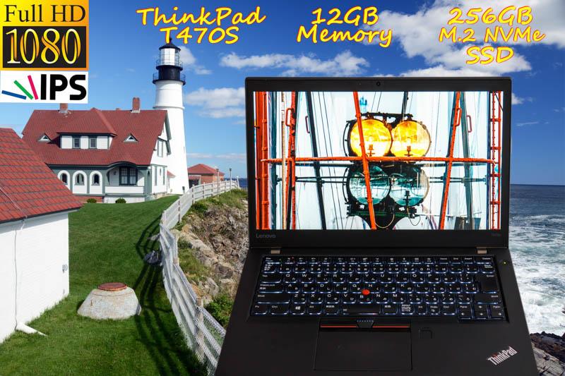 Lenovo ThinkPad T470s i5 12GB SSD( NVMe Gen3x4 256GB) 画面(fHD IPS 14.0 1920×1080)  バッテリ(2基 11h39m) 光るキーボード カメラ Bluetooth 指紋 Win10
