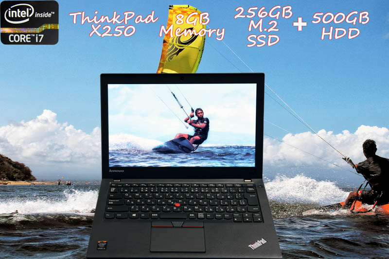 Lenovo ThinkPad X250 i7 8GB SSD(新品M.2 256GB)+HDD(500GB)  画面(HD 12.5)バッテリ(2基搭載 9h55m) 新品キーボード  Bluetooth カメラ  Win10