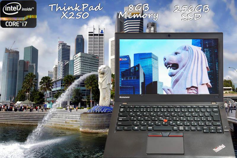 Lenovo ThinkPad X250 i7 8GB SSD(256GB) 画面(HD 12.5) バッテリ(2基搭載 12h8m) カメラ Bluetooth 指紋 未使用キーボード   Win10