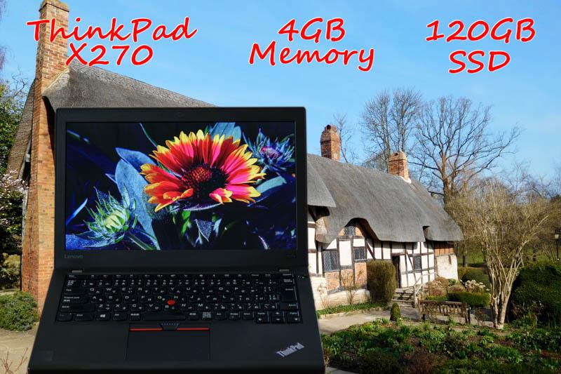 Lenovo ThinkPad X270 i3 4GB  SSD(新品 120GB) 画面(HD 12.5) バッテリ(4h18m) Bluetooth 指紋 Win10