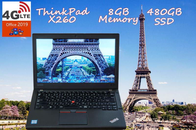 レストア ThinkPad X260 i5 8GB  SSD(新品480GB) 画面(HD 12.5) 4G/LTE(EM7340) バッテリ(2基 12h44m)カメラ Bluetooth 指紋 オフィス2019 Win10