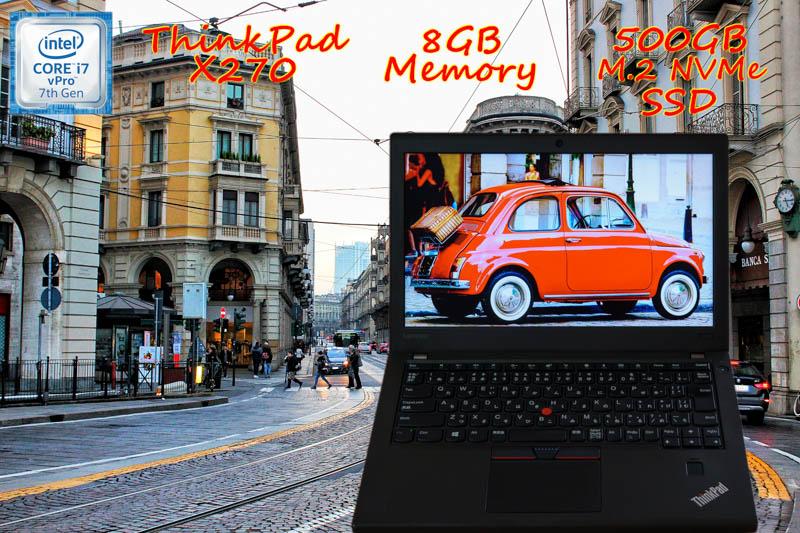 Lenovo ThinkPad X270 i7 8GB  SSD(新品NVMe 500GB) 画面(HD  12.5) バッテリ(大容量 20h34m) Bluetooth カメラ 指紋 Win10