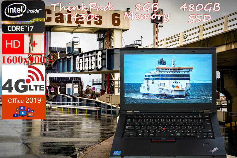 Lenovo ThinkPad T430s i7 8GB  SSD(新品480GB) DVD(SuperMulti) 画面(HD+ 14  1600×900) 4G/LTE(MC7700) バッテリ(4h21m)カメラ Bluetooth 指紋 オフィス2019 Win10