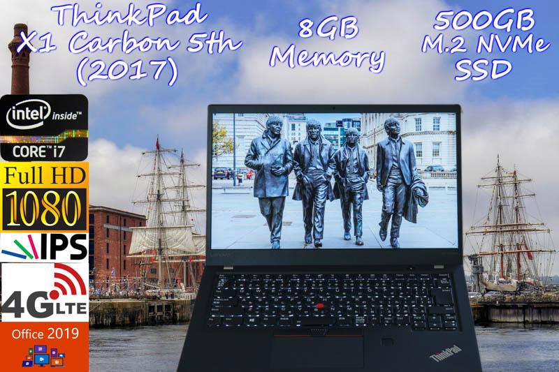 ThinkPad X1 Carbon  5th(2017) i7 8GB SSD(新品NVMe Gen3x4 500GB) 画面(fHD IPS 14.0 1920×1080) 4G/LTE  バッテリ(14h3m) 光るKB カメラ Bluetooth 指紋  オフィス2019 Win10
